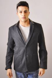 Tweed Jacket With Leather Collar